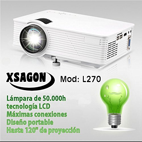 Proyector portatil L270, FullHD soportado, USB Multimedia, HDMI, AV, VGA, 1500 lumenes, bajo Nivel de Ruido, lampara led de 50.000 Horas, para Cine en casa PS4, Switch, Xbox One