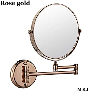 Bathroom Mirror Wall Mounted Makeup Mirror 6-inch Two-Sided Swivel Wall Mounted Mirror Extending Folding Bathroom Shaving Cosmetic Make Up Mirror- 5X Magnification