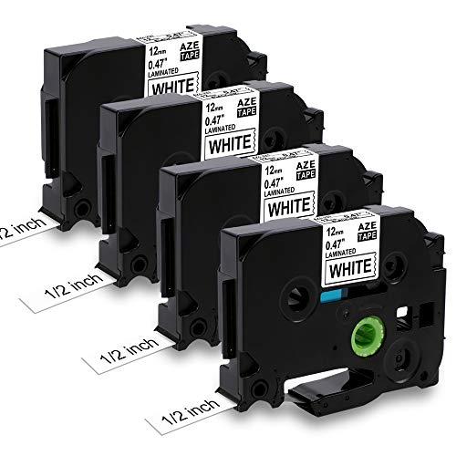 Nastro per Etichette MarkField Compatibile In sostituzione di Brother P-touch TZ TZe-231 Nero su Bianco per Brother Ptouch PT-1000 PT-1010 1080 H105 H100LB/R H108 D200 D400, 12mm x 8m, 4pack