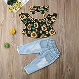 Bebé niña 3 unids Conjunto niñas de Hombro Girasol niños impresión Top Rasgado de algodón Pantalones de Mezclilla Diadema para niños pequeños Trajes de Verano Ropa de niño (Kid Size : 18M)