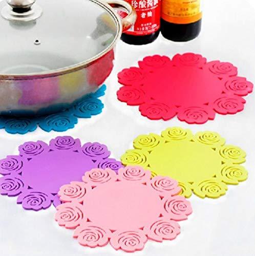 Hpybest 2 stks Siliconen Rose Boer Keuken Eettafel Decoratie Hittebestendige Mat Pad Cup Houder Coaster Placemat Keuken Gereedschap