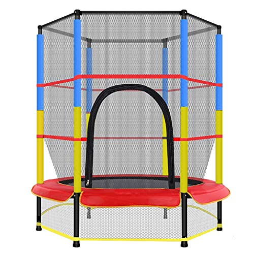 55 ln Kids Fitness Trampoline,4.5FT with Safety Net Enclosure and Spring Pad,Indoor Outdoor Children's Activity Junior Trampoline (UK 3-5 Day,Multicolour)