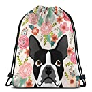 Boston Terrier Florals Flowers Boho Cute Black and White Boston Terrier Puppy Dog pet Portraits Cut Durable Drawstring Backpack for Men & Women Gym School Travel 17X14inch