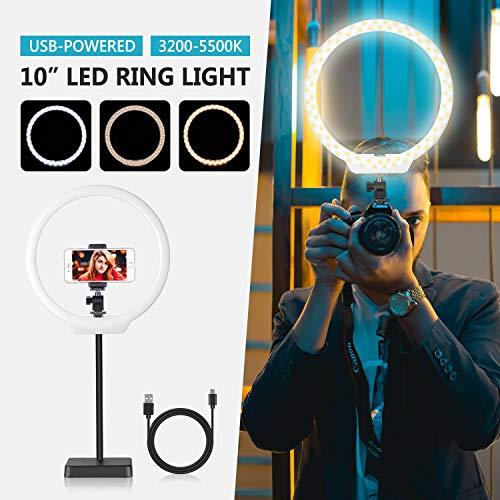 Neewer USB LED Luz Anillo 26cm 5W/10W Regulable Bi-Color 3200-5500K con...