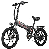 ANCHEER Folding Electric Bike Ebike, 20'' Electric Commuter Bicycle with 10.4AH Removable Lithium-Ion Battery, 48V 350W Motor and Professional Rear 7 Speed Gear