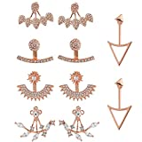 5 Pairs Ear Jacket Stud Lotus Flower Earrings for Women and Girls Set for Sansitive Ears Simple Chic Jewelry