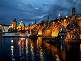 Kit De Pintura Acrílica Diy Para Pintar Por Números Para Niños Y Adultos Principiantes - 16X20 Pulgadas Luces Nocturnas Puente Río Praga