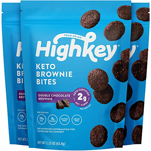 HighKey Snacks Keto Low Carb Food Chocolate Brownie Cookie Bites - Paleo, Diabetic Diet Friendly - Gluten Free, Low Sugar Dessert Treats & Sweets & Ketogenic Products Healthy Protein Brownies