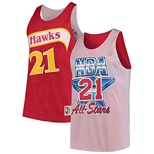 Mitchell & Ness Atlanta Hawks Dominique Wilkins 21 Wende-Trikot NBA Basketball All Star, rot / weiß, xxl