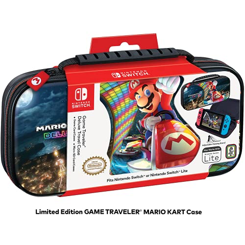 Game Traveler Nintendo Switch or Switch Lite Mario Kart Case - Adjustable Viewing Stand , Protective Vinyl Hard Shell Case with Comfortable Carry Handle - Multi - Mario Kart - Nintendo Switch