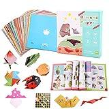 Kit de papier origami, 192/120 feuilles colorées pour enfants, kit origami double face à motifs, livre d'instructions pour enfants, adultes, débutants, travaux manuels (192)
