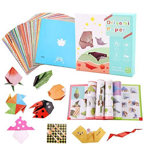 Origami Kit de papel para origami,192 hojas colorido para niños, origami,papel de doble cara,patrón de origami,libro de instrucciones para principiantes,suministros de manualidades,proyectos de arte
