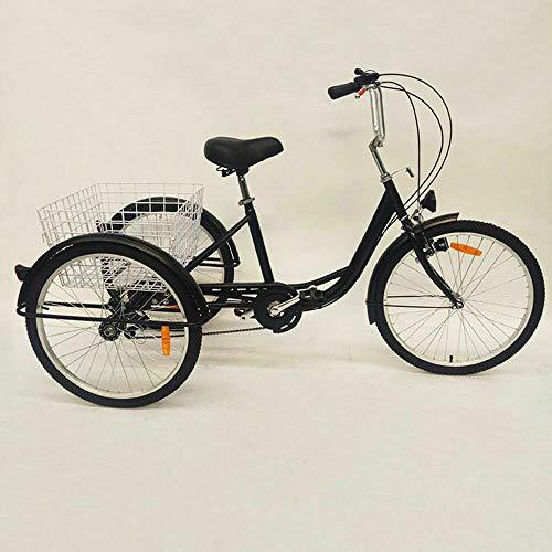 Triciclo Adulto 24 pollici a 6 velocità, bicicletta a pedale a 3 ruote con cestino di grande capacità e luce, per gli acquisti outdoor sport pic-nic, colore: nero