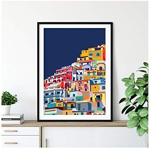wsqyf Positano Italy Print Amalfi Coast Colorful Wall Art Canvas Painting Architecture Art Amalfi Coast Poster Decor Traveler Gift 50x70cm (no Frame)