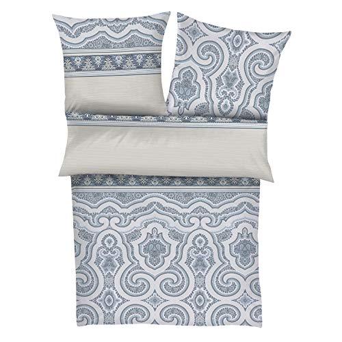 Zeitgeist Bettwäsche 155x220cm, flauschig warme Biberbettwäsche,100% Baumwolle, beige grau, 2 teiliges Set aus Deckenbezug 155x220 und Kissenhülle 80x80, Reißverschluss
