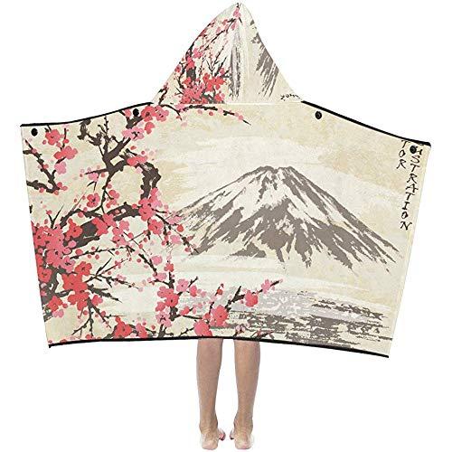 Darlene Ackerman(n) Decke mit Kapuze Mountain Fuji und Spring Oriental Cherry Blossoms Hooded Blankets Überwurf Wrap Hooded Blanket