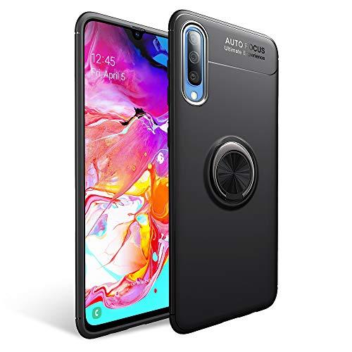 NALIA Funda Compatible con Samsung Galaxy A70, Silicona Carcasa con 360 Grados Anillo Giratorio para Soporte de Coche Magnético, Ring Case Cover Delgado Cubierta Protectora, Color:Negro