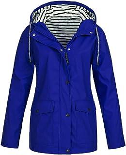 b1e049300ff iFOMO Raincoats Waterproof Rain Jacket Lightweight Travel Active Outdoor Hooded  Women s Trench Coats US Size 6