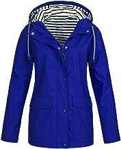 UONQD Women Solid Rain Jacket Outdoor Plus Waterproof Hooded Raincoat Windproof