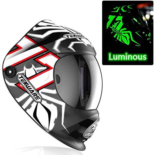 TEKWARE Hemispherical Large Viewing True Color Solar Powered Auto Darkening Welding Helmet, 4 Arc Sensor Wide Shade 4/5-9/9-13 Welder Mask for Mig Tig Arc Weld Grinding (Luminous Spider 77)