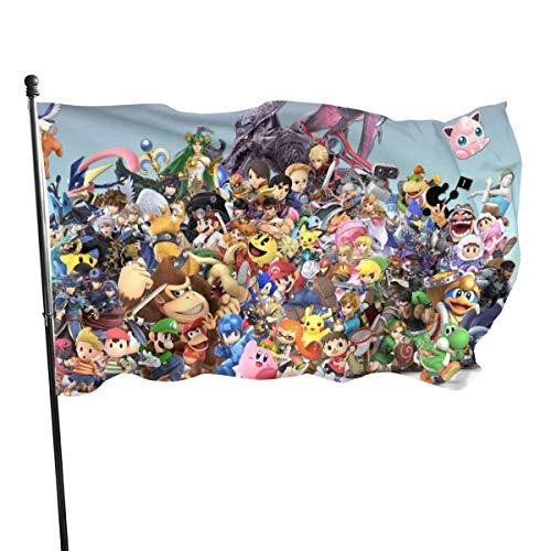 BHGYT-Spiel Mario und die Legende von Zelda Flaggen Große Flagge Anti Fading für Ösen Hausdekoration Außenflagge Dekor Außen 3 x 5 Gartenflagge Garten Saisonale und Yard Flag Banner 3 X 5 Fuß