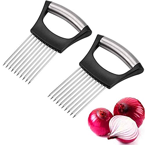 Muitar 2 PCS Food Slice Assistant Onion Holder Slicer, 2 Pcs Stainless Steel Onion Holder Slicer, All-in-one Onion Holder with Non-Slip Handle - Multifunctional Kitchen Aid