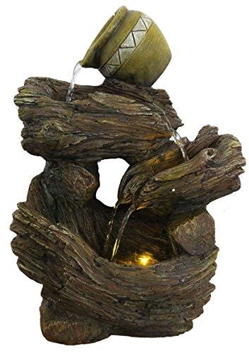 Fuente cántaros troncos, 39 cm, exterior
