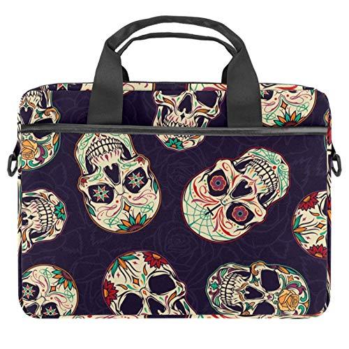EZIOLY Novelty Retro Skulls Pattern Laptop Shoulder Messenger Bag Crossbody Briefcase Messenger Sleeve for 13 13.3 14 Inch Laptop Notebook Tablet Protect Tote Bag Case