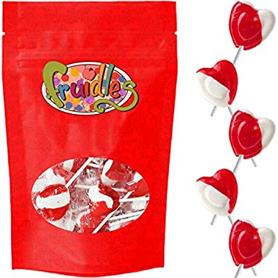 Valentines Day Lollipops Red Heart Shaped Strawberry N' Cream Flavored, Kosher Parve, Individually Wrapped