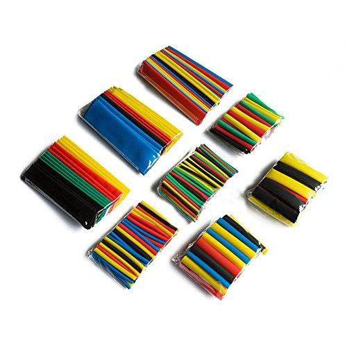 Dealit Heat Shrink tube 328PCS Colorate assortite termorestringenti tubo 5 colori 8 Grandezze tubi dell'involucro della manica Serie Combo