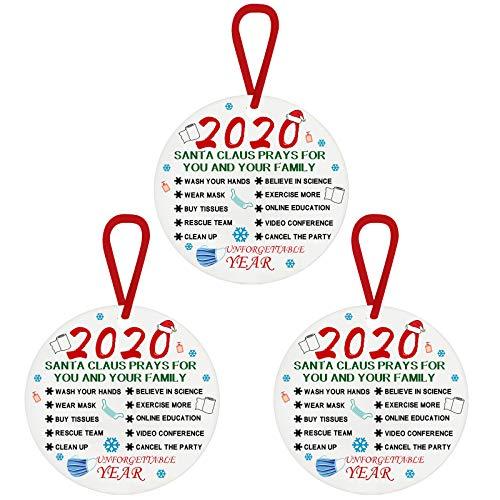 Javntouy Adorno de Navidad 2020, cuarentena, divertido adorno 2020, amigos cuarentena feliz Navidad adornos regalo que fuimos en cuarentena, distancia social
