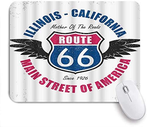 Alfombrilla de ratón para juegos, California america route 66 wings word street retro fashion road divertida alfombrilla de ratón antideslizante con respaldo de goma para ordenadores portátiles alfomb
