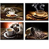 Coffee Theme Kitchen Decor, SZ 4 Piece Hot Coffee Beans Picture Canvas Wall Art, Contemporary Canvas Prints (Waterproof Artwork, Bracket Mounted Ready to Hang, 1' Thick)
