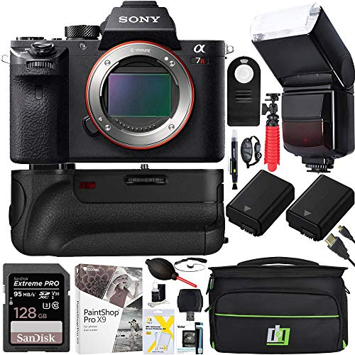 Sony a7R II Full-Frame Mirrorless Interchangeable Lens 42.4MP Camera Bundle with 64GB Memory Card, Dual Batteries Battery Grip, Paintshop Pro 2018 and Accessories (12 Items)