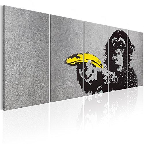 murando - Bilder Banksy AFFE mit Banane 225x90 cm Vlies Leinwandbild 5 TLG Kunstdruck modern Wandbilder XXL Wanddekoration Design Wand Bild - Monkey Street Art Urban Mural i-C-0110-b-m