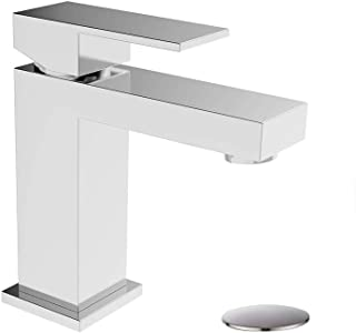 Bathroom Faucet with Pop Up Drain Assembly Solid Brass, ALWEN Basin Faucet Square Single-Handle Lead-free Chrome