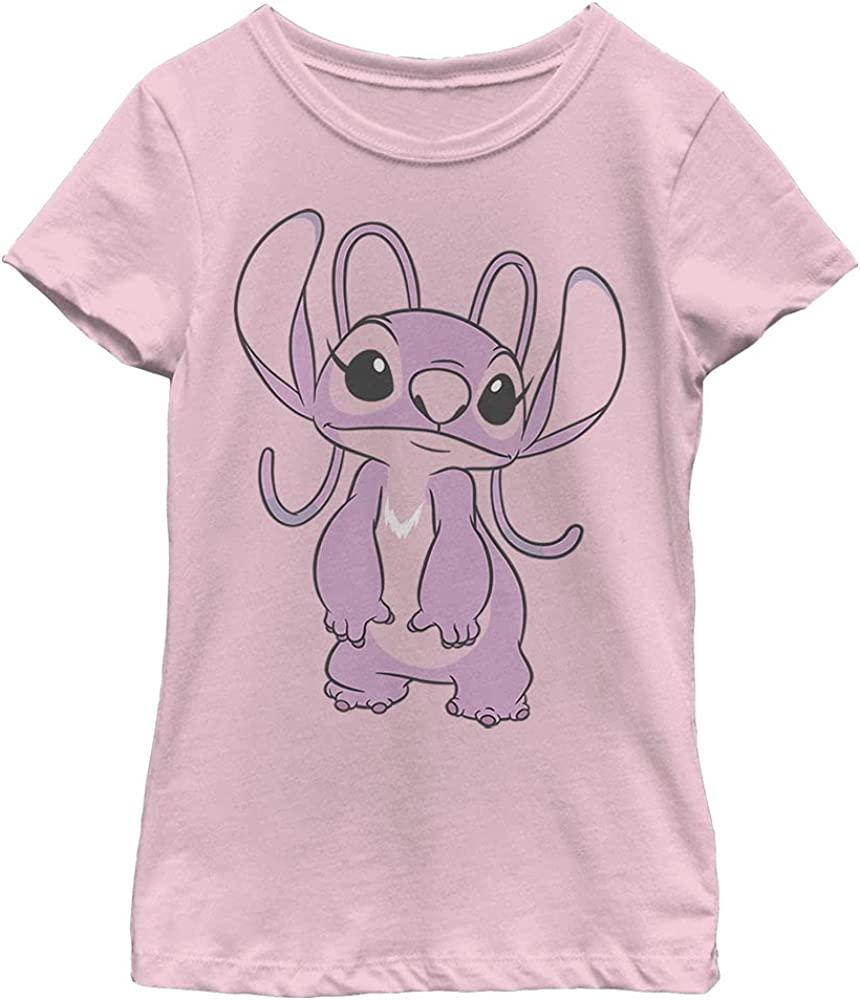 Disney Lilo & Stitch Big Angel Girl's Solid Crew Tee