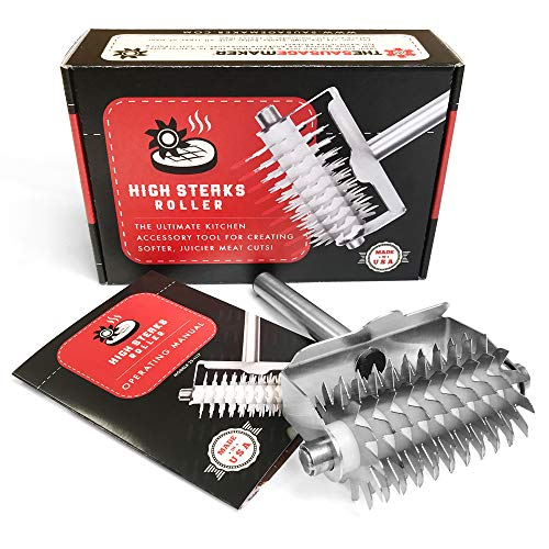The Sausage Maker - High Steaks Roller Meat Tenderizer Tool (Manual) Razor Sharp Stainless-Steel Rollers for Optimal Tissue Penetration on Thick, Tender Red Cuts | No Hammer or Mallet Needed