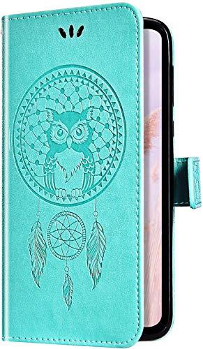 Uposao Samsung Galaxy J8 2018 Coque Flip Case,Hibou Capteur de rêves Motif Housse en Cuir PU Pochette Portefeuille à Rabat Clapet Fermeture Magnétique Etui avec Stand Support et Porte-Cartes,Vert
