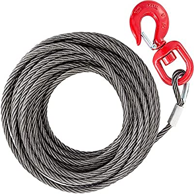 "BestEquip Galvanized Steel Winch Cable, 3/8"" x 100' - Wire Rope with Hook, 8800 Lbs Breaking Strength - Towing Cable Heavy Duty, 6x19 Strand Core - for Rollback, Crane, Wrecker, Tow Truck"