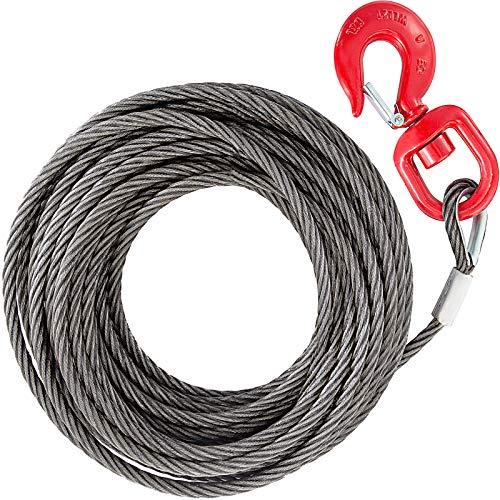 VEVOR 10mm x 15m Seilwinde Seilzug Haken Bruttogewicht 7kg verzinkt Fingerhut 2 Tonnen Abschleppseil Schleppseil besteht aus hochwertigem Kohlenstoffstahl Stärke