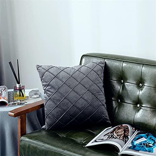 EXQULEG Federa per cuscino 43 x 43 cm, a quadretti, set da 2 federe in velluto con chiusura lampo nascosta, per divano e terrazza, ufficio, disponibile in diversi colori (5)