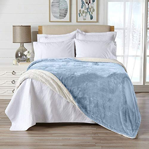 1 Piece Casual All Season Reversible Velvet Plush Sherpa Blanket King, Soft Smooth Luxurious Comfortable Look Lightweight Breathable Solid Powder Blue Microplush Bed Blanket