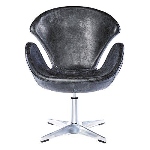 Phoenixarts Vintage Drehsessel Retro Ledersessel Schwarz Design Leder Sessel Drehbar Loft Clubsessel 635