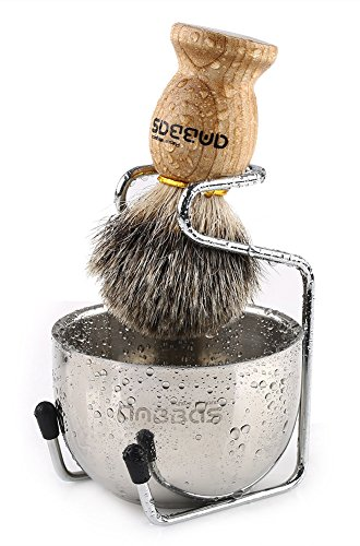 Shaving Set, 3in1 Pure Badger Hair Shaving Brush...
