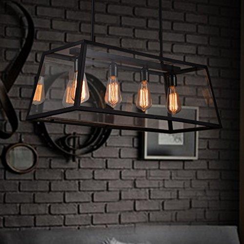 GH@ Armazón rectangular de cristal industrial Chandelier Restaurant Hot Pot Air Bar