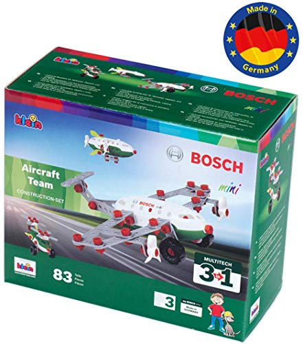 Theo Klein 8790 Bosch Konstruktionsset, 3 in 1 Aircraft Team, Multicolor