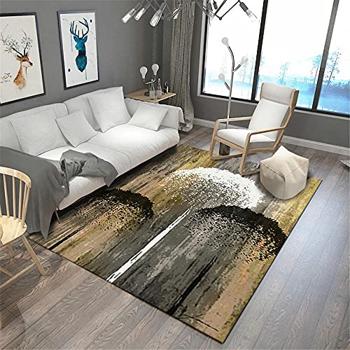 Alfombras Salon alfombras Alfombra de Sala de Estar con patrón de árbol Grande de Graffiti de Tinta Blanca marrón Negro Alfombra Fina Alfombra Lavable 60*120cm