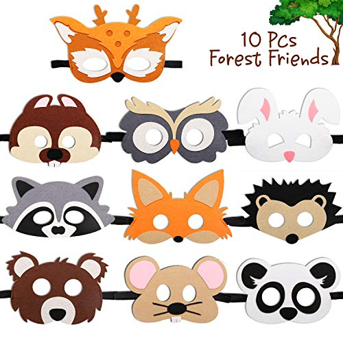 CiyvoLyeen Forest-Friends Animals Felt Masks 10 pcs Woodland Creatures Animal Cosplay Zoo Camping Themed Party Favors Supplies for Boys or Girls