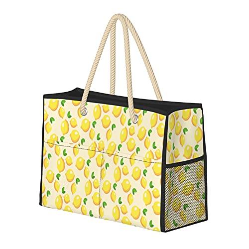 Bolsa de playa de limón amarillo, resistente al agua, bolsa de paja para playa, bolsa de hombro, para gimnasio, playa, viajes, etc
